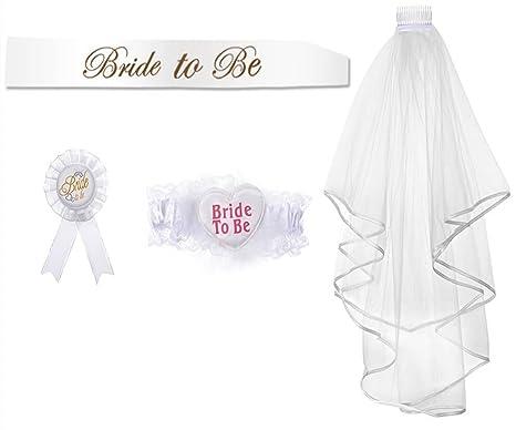 30bf714bd9be Bride to Be Veil Sash Bannière Jarette Rosette Badge pour Jarretière de Hen  Night Party Décorations