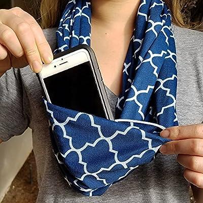 Infinity Scarf with Zipper Pocket For Women - Hide Your Passport, Phone, Wallet