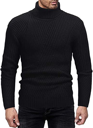 Alion Men Turtleneck Long Sleeve Pullover Cable Knitted Sweater Top