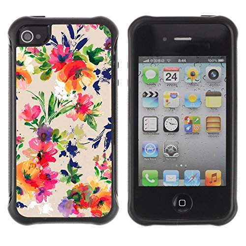 All-Round Hybrid Rubber Case Hard Cover Protective Accessory Compatible with Apple iPhone 4 & 4S - wallpaper flower pattern