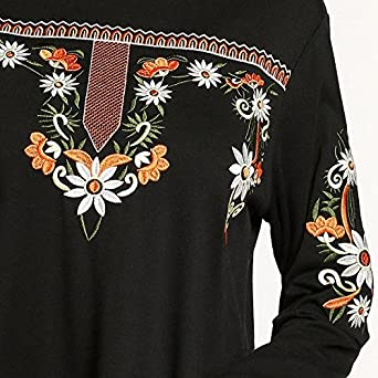 SODIAL Women Muslim Robes Ethnic Embroidered Contrast Color Patchwork A Line Long Dress Ramadan Middle East Long Sleeve(Black, M/US~8/UK~12) at Amazon ...