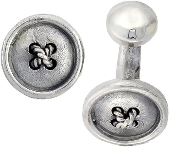 Sterling Silver Round Cufflinks Raised Edges 5//8 inch Wide