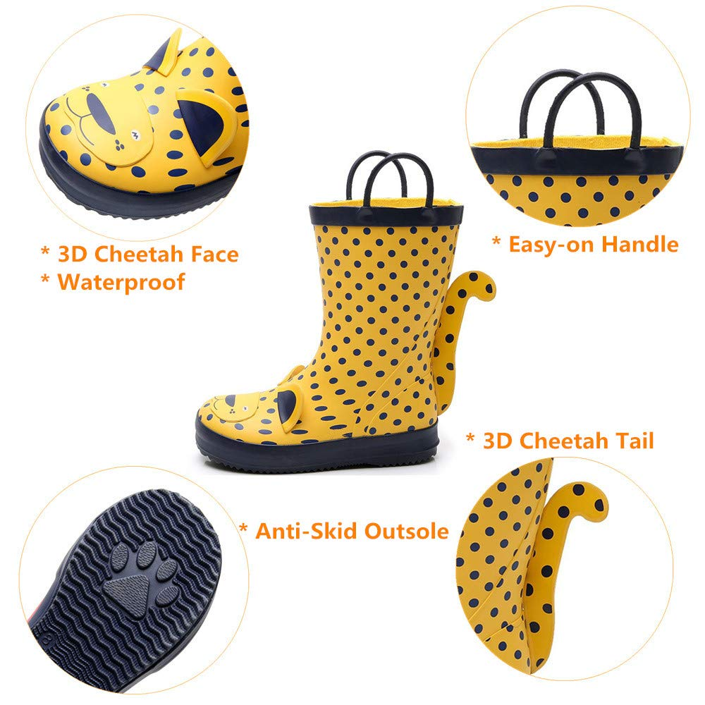 Animal Print Raining Shoes Lightweight Waterproof Boy /& Girls Rubber Boots for Kids Age 1-6 with Easy-on Handles Kids Rain Boots for Toddler /& Little Kids