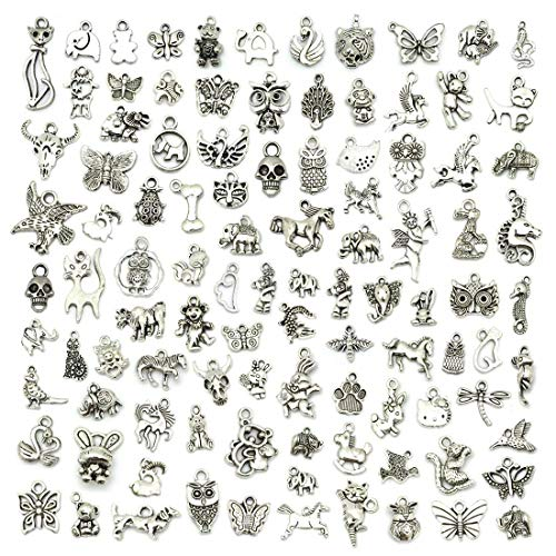 YoudiylaUK 100 pcs Mixed Antique Silver Tableware Charms Craft Supplies Beads Charms Pendants for Crafting Jewelry Findings Making Accessory for DIY Necklace Bracelet WM012