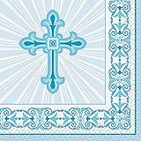 Radiant Azul Cruz religiosa Bebidas servilletas, 16 ct
