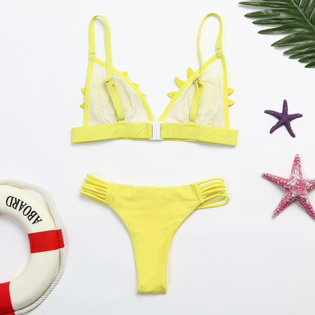 DEELIN Flores De Las Mujeres Sexy Push-Ups Engrosamiento Sujetador Bikini Floral Traje De BañO BañO: Amazon.es: Ropa y accesorios