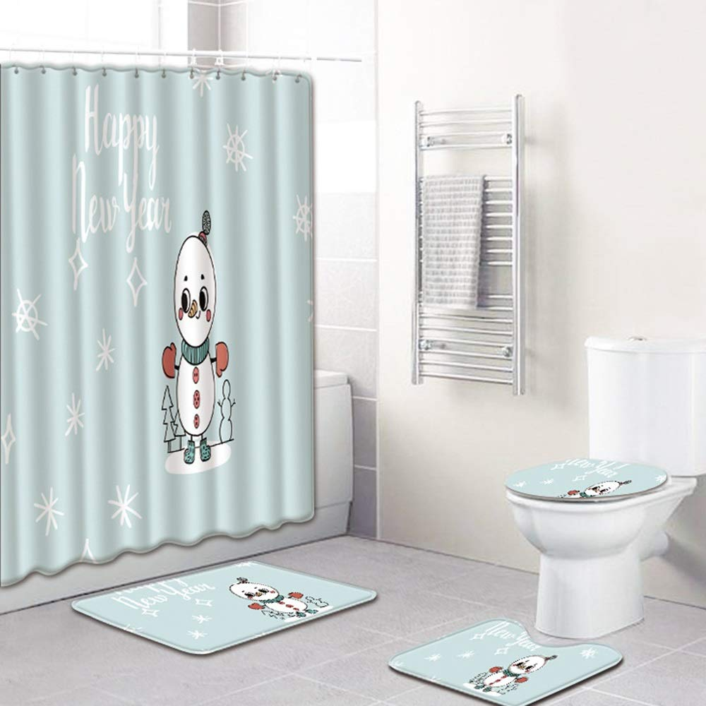 ETH Cartoon Snowman Pattern Shower Curtain Floor Mat Bathroom Toilet Seat Four-Piece Carpet Water Absorption Does Not Fade Versatile Comfortable Bathroom Mat Can Be Machine Washed Durable by ETH