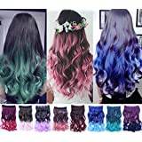 ACELIST® New Two Tone One Piece Long Synthetic Thick Hair Extensions Curl/Curly/Wavy Clip-on Hairpieces 13 Colors