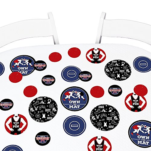 - Big Dot of Happiness Own The Mat - Wrestling - Birthday Party Giant Circle Confetti - Wrestler Party Decorations - Large Confetti 27 Count