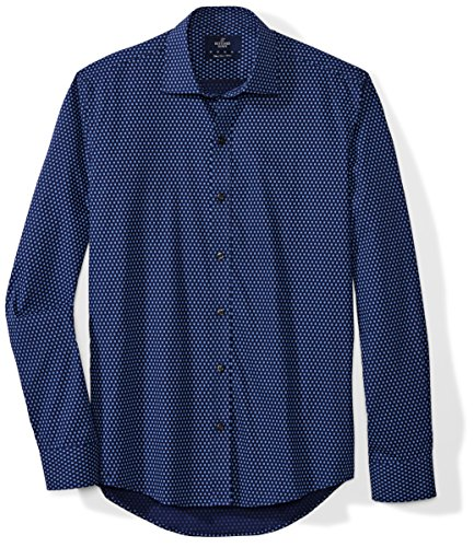 BUTTONED DOWN Men's Slim Fit Supima Cotton Spread-Collar Pattern Dress Casual Shirt, Navy/Blue Flowers, 16-16.5