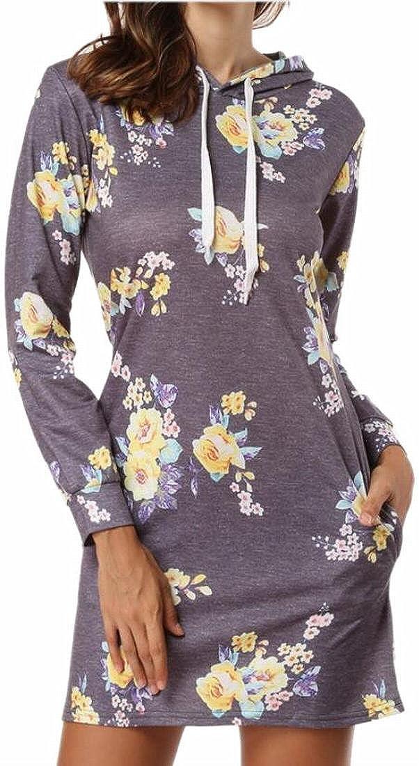Ptyhk RG Women Drawstring Print Pullover Hoodies Comfort Sweatshirt Mini Dress With Pockets