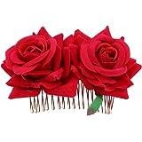 3ddf99d69943 LUOEM Peine del pelo de la flor de Rose Accesorio del pelo floral Celada  para mujeres