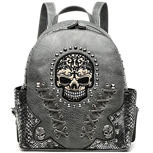 Sugar Skull Punk Art Rivet Studded Biker Purse Women Fashion Backpack Bookbag Python Daypack Shoulder Bag (Taupe)