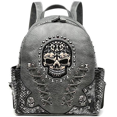 Sugar Skull Punk Art Rivet Studded Biker Purse Women Fashion Backpack Bookbag Python Daypack Shoulder Bag (Taupe) (Winged Handbag Heart)