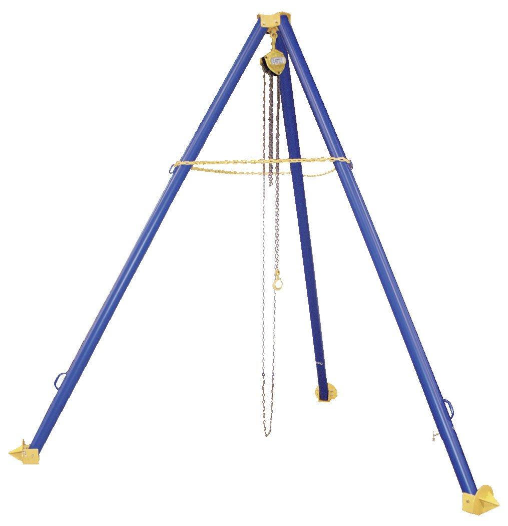 Vestil TRI-AA Aluminum Tripod Stand with Height Adjustable Legs, Eyelet Height Min./Max. (in.) 106-1/2 to 168, Overall Height Range (in.) 113-7/8 to 175-3/8, 6'' Increments, 1000 lb Uniform Capacity, Blue