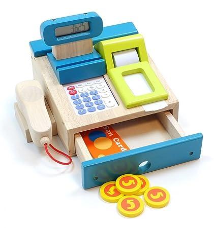 Tolle Spielkasse aus Holz mit integriertem Taschenrechner mit Sound, Bonrolle, Scanner, Geldstücke + Kreditkarte (ab 3 Jahre)