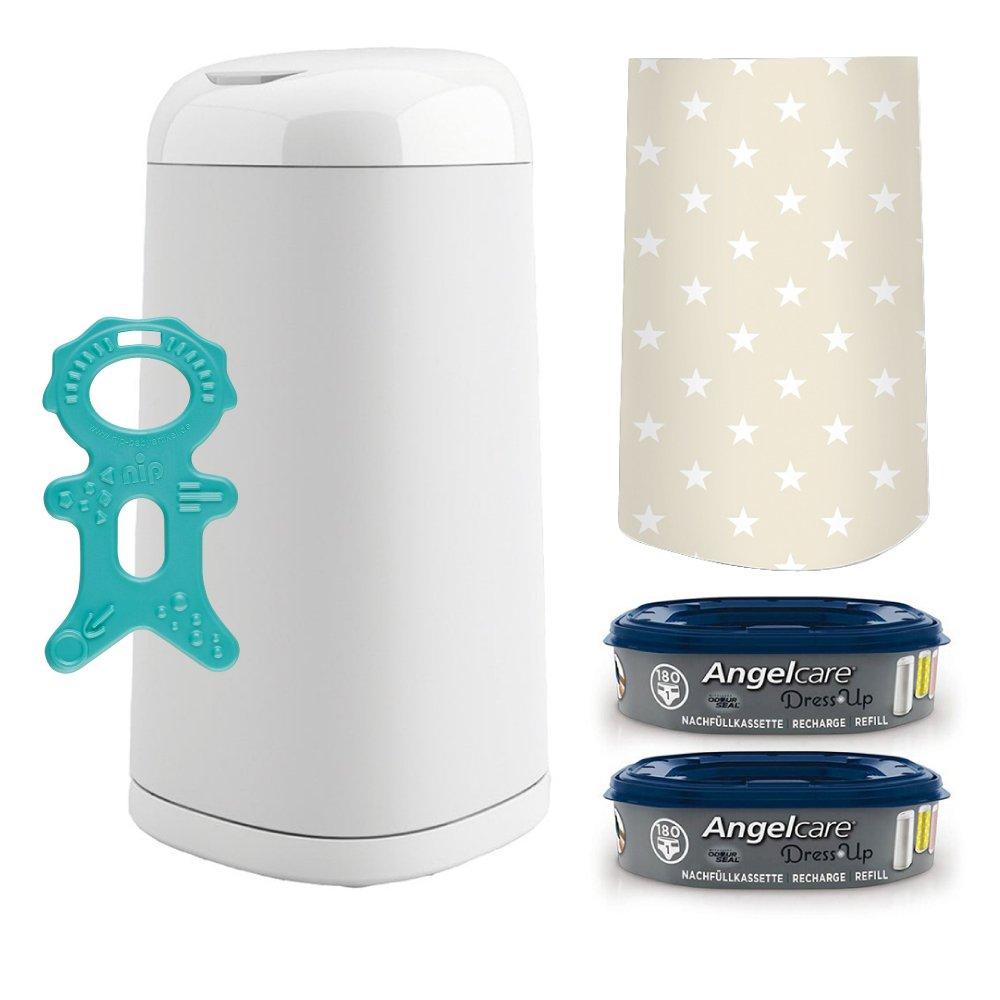 Angelcare® Dress-Up Starter-Set: Windeleimer + 2 Nachfüllkassette + Dress-Up Bezug Stars Beige