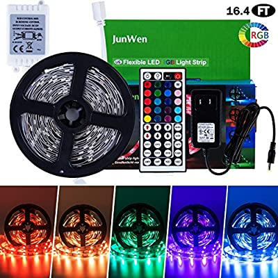 JUNWEN 16.4ft Flexible LED Light Strip, RGB 150 Units SMD 2835 LEDs, 12V LED Tape, Multi-Colors LED Ribbon with 44 Key IR Remote Controller and Power Supply, for Home/Kitchen/Car/Bar/Hotels/Clubs/Shop