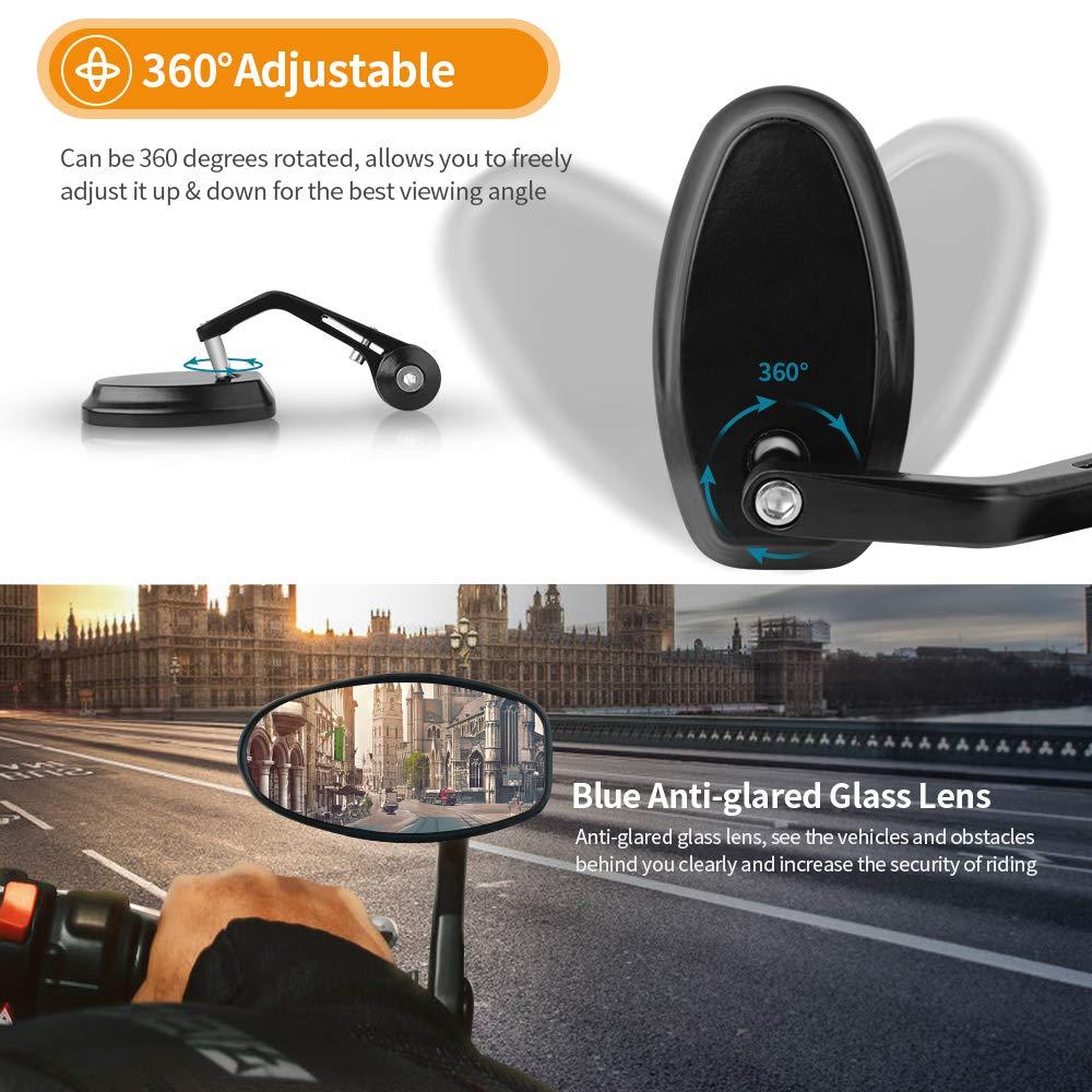 Aolead R/étroviseurs Moto,7//8/'/' 22mm R/étroviseurs Embout de Guidon Moto R/étroviseurs Lat/éraux pour Moto ATV Scooters,Noir
