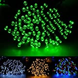 Patio Lawn Garden Best Deals - 55ft/17m 100 LED Solar Fairy String Lights for Outdoor, Gardens, Patio, Lawn, Porch, Gate, Yard, Trees, Homes, Christmas Party, Color Green, Guarantee for Three Month Replacement