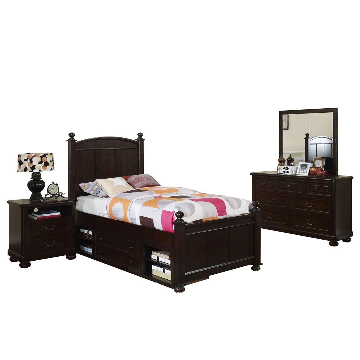 Cape Town Children's 4 Piece Twin Bed, Nightstand, Dresser & Mirror with Storage in Chestnut