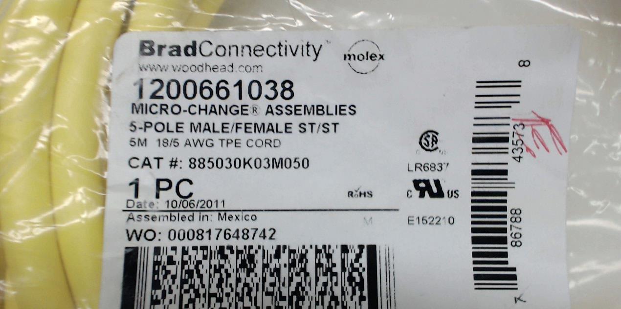 St//St Cordset M//M Brad Connectivity 1201080038 10M 1201080038 4 Pole