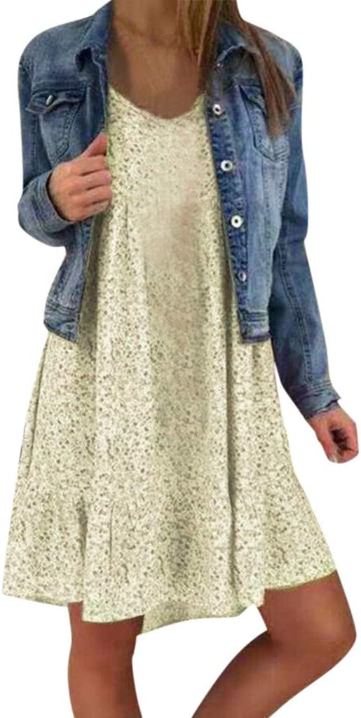 Millgood Robe D/ét/é Imprim/ée Grande Taille pour Femme Mesdames D/écontract/ée Robe de Balan/çoire Mini Robe Boh/ème sans Manches Robe pour Femme
