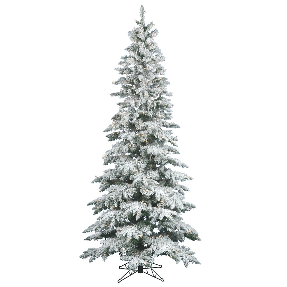 Amazon.com: Vickerman 65\' Flocked Slim Utica Fir Artificial ...