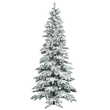 Artificial Christmas Tree Sale.Vickerman 65 Flocked Slim Utica Fir Artificial Christmas Tree With 300 Warm White Led Lights