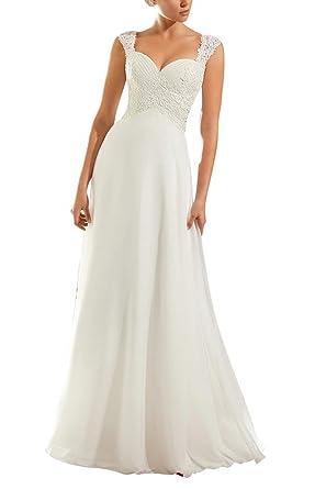 VEPYCLY Chiffon Empire Princess Elegant Beach Wedding Dresses ...