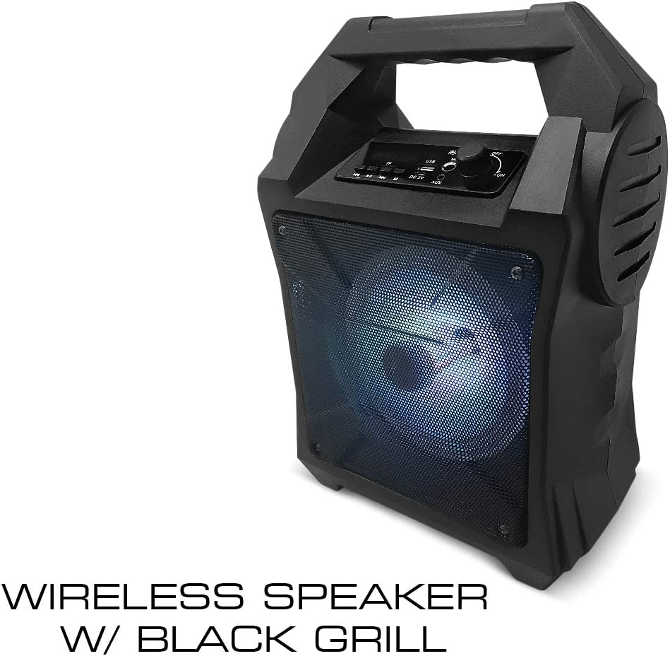TF and Colorful Light Effects USB AUX Fisher FBX262 Portable Wireless Speaker with Microphone Input Black Bluetooth