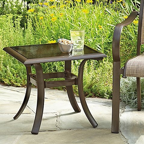 - 20-Inch Square Aluminum and Glass Patio Accent Table in Brown with 110-Lb. Weight Capacity