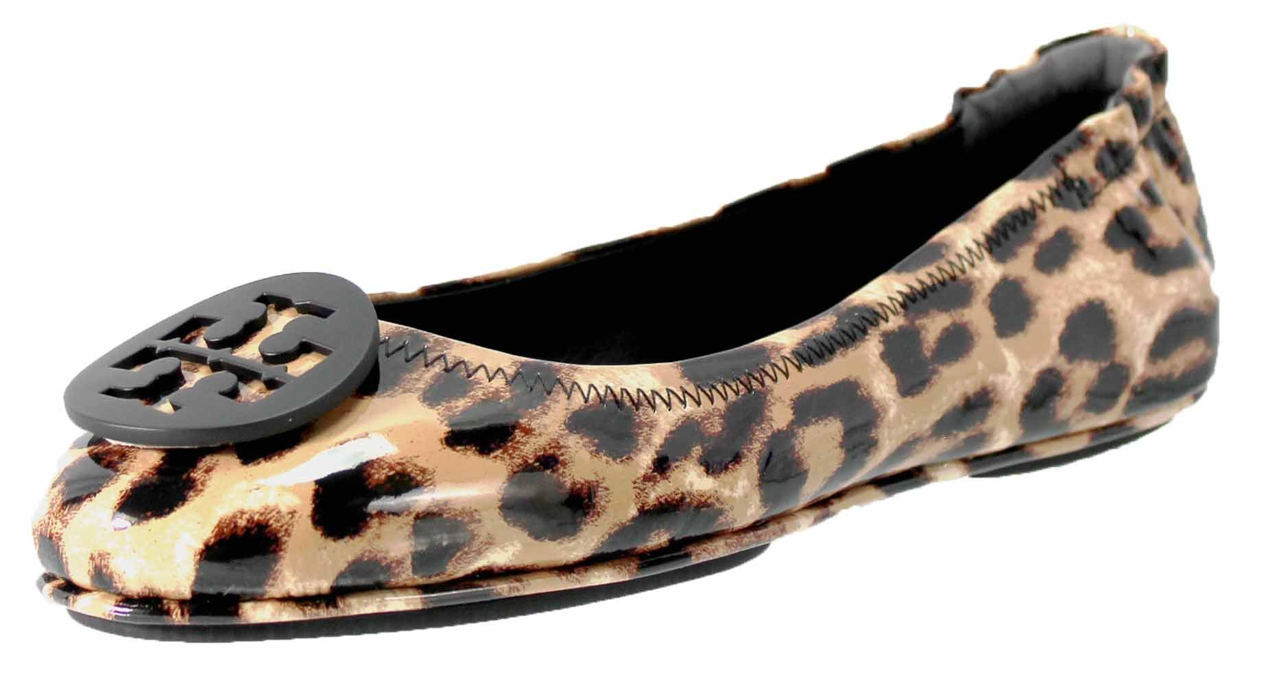 Tory Burch Minnie Travel Patent Leather Ballet Flats In Natural Leopard Size 6