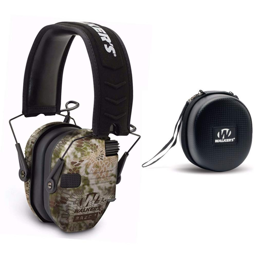 Walkers Razor Slim Electronic Shooting Hearing Protection Muff (Kryptek Camo) with Protective Case by Walkers