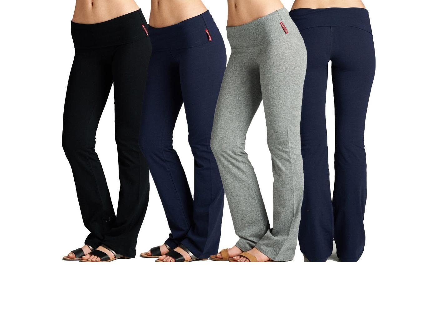 Unique Styles Fold-Over Waistband Stretchy Cotton Blend Yoga Pants (Small, 3 Pack:1-Black, 1-Navy, 1-Heather Grey)