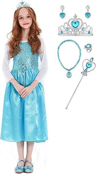 YOSICIL Niñas Disfraz de Princesa Frozen Elsa con Accesorios ...