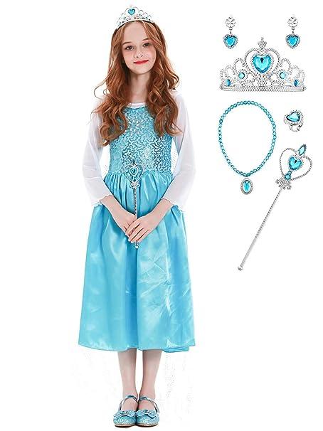 YOSICIL Princesa Disfraz de Princesa Frozen Elsa con Diadema ...
