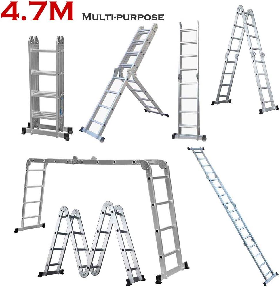 Escalera de aluminio plegable 14 en 1, multiusos, 4,7 m, con capacidad de carga de 330 libras, con 1 bandeja de herramientas: Amazon.es: Bricolaje y herramientas