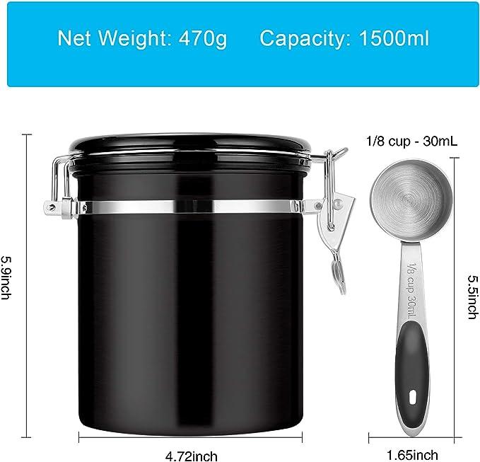 700 g Kaffee CO2-Entl/üftungsventil Aromadose Datumsanzeige BEEM KAFFEEDOSE Vorratsdose mit Dosierl/öffel Luftdicht aus Edelstahl 1,9 l