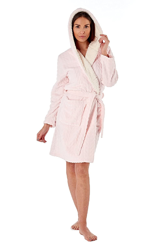 f1ebeb9302 Ladies Textured Fleece Sherpa Lined Hooded Bath Robe In Sizes 8-18   Amazon.co.uk  Clothing