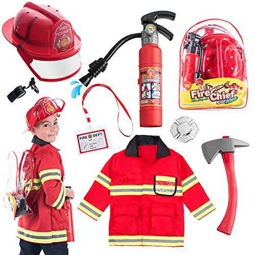 Born Toys 8 PC Premium Washable Fireman Costume and Firefighter Accessories with Real Water Shooting Extinguisher Great Gift for Boys and Girls -