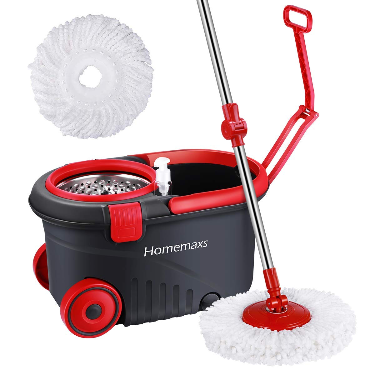 Homemaxs Newest 2019 Spin Press Mop Bucket, Spin Self-Wringing Mop and Bucket with Wheels - Extended Length Adjustable Mop with 2 Extra Microfiber Mop Heads - Black by Homemaxs (Image #1)