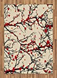 Japanese Area Rug by Lunarable, Asian Nature Cherry Blossom Sakura Branch Flowers Blossoms Artwork Print, Flat Woven Accent Rug for Living Room Bedroom Dining Room, 5.2 x 7.5 FT, Red and Dark Brown