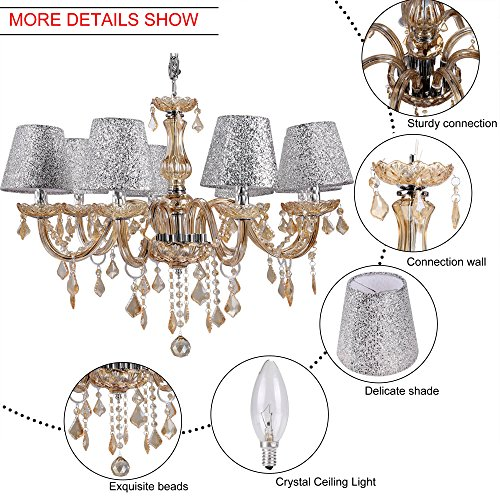 Homdox Modern Luxury Delicate 8 Lights Pendant With Crystal Balls, Modern Home Ceiling Light Fixture Flush Mount, Pendant Light Chandeliers Lighting(include 9 pcs bulbs) by Homdox (Image #4)