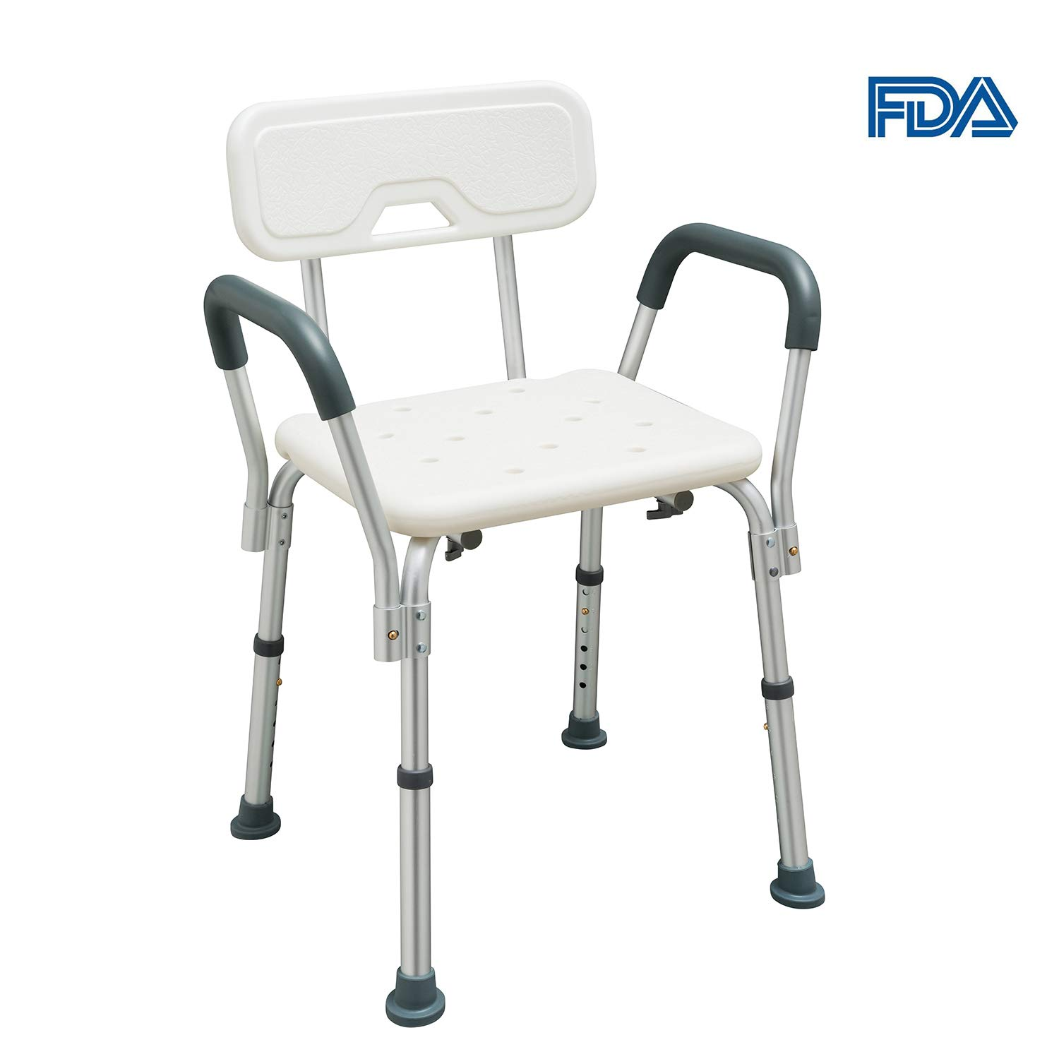 Jacia House Assembly Adjustable Shower Chair, Portable Bath Seat, White Shower Bench with Arms (White, Chair with Arms)