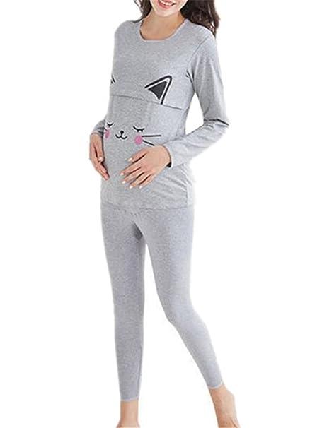 Tayaho Pijamas Lactancia Mujeres Pijamas Dos Piezas En Capas Ropa De Dormir O Cuello De Manga