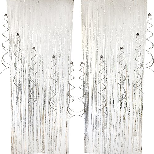2 pcs Foil Curtains and 10 pcs Hanging Swirls, Cocodeko Metallic Fringe Curtains Shimmer Curtain Party Swirl Dizzy Danglers Decoration for Party Photo Backdrop Wedding Birthday Decor - Silver