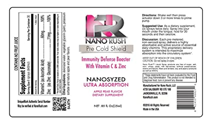 Amazon.com: Nano Rush Pre Cold Shield Vitamin C and Zinc Boost Immune System Defense Booster Prevent Cold Remedies with Nanotechnology 1 Oz Apple Pear ...