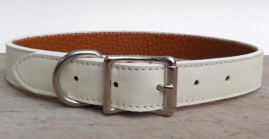 Luxury Italian Leather Tuscany Dog Collar White 12