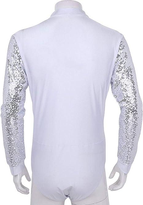 YiZYiF Maillot Danza Latina Hombres Camisa Baile Latino Camiseta Depritva Danza Salsa Jazz con Lentejuelas Ropa Clásica Bailarín Adulto M-2XL: Amazon.es: Ropa y accesorios